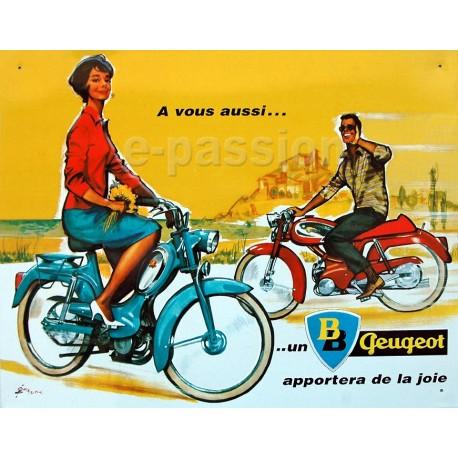 Plaque métal publicitaire 30x40cm plate : Vélomoteurs Peugeot