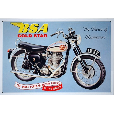 Plaque métal publicitaire 30x40cm relief : Moto BSA Gold Star
