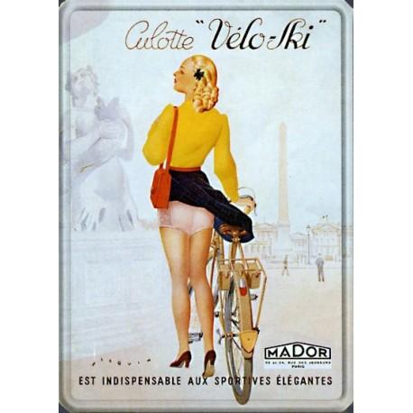 """Plaque métal  publicitaire 30x40cm bombée  :  Culotte """"vélo ski"""""""