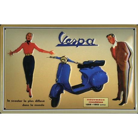 Plaque métal publicitaire 20x30cm bombée en relief :  VESPA 125-150