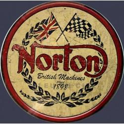 Plaque métal publicitaire diamètre 30 cm : Norton since 1898