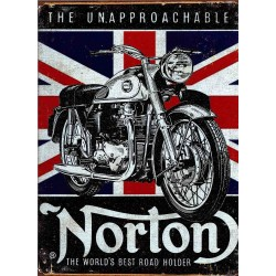 Plaque métal publicitaire 30x40cm : US Norton The Unapproachable