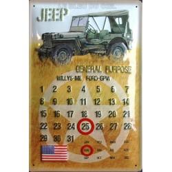 Calendrier métal publicitaire 20x30cm bombée en relief : Jeep militaire