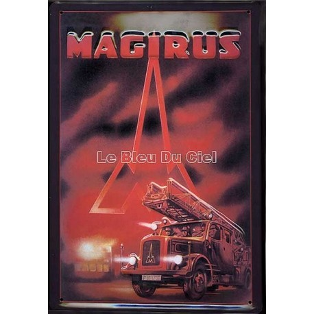 Plaque métal publicitaire 20x30cm bombée en relief :  Camion pompier Magirus