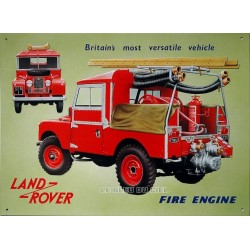 Plaque métal publicitaire 30 x 40 cm plate relief : Land Rover Fire