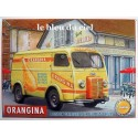 Plaque métal publicitaire 30x40cm plate relief : Camionnette-fourgonnette Peugeot Orangina