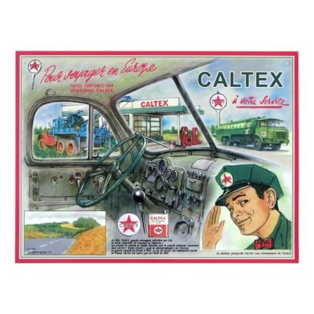 Plaque métal publicitaire 30x40cm plate relief :  Caltex