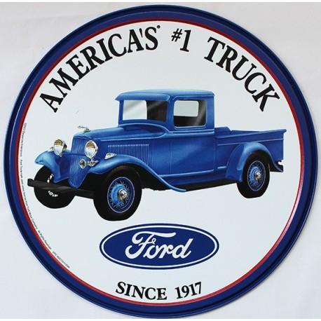 Plaque métal publicitaire diam 30cm : América's TRUCK Ford