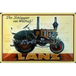 Plaque publicitaire 20x30cm bombée en relief : Tracteur Lanz der Schlepper