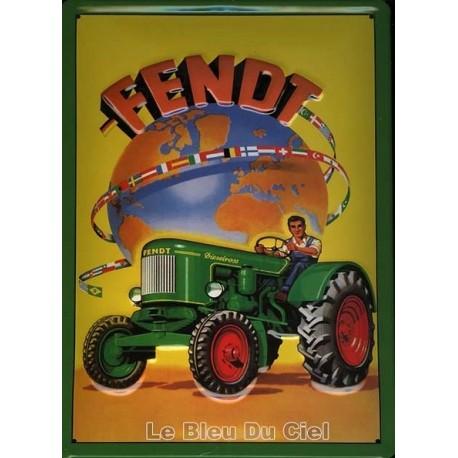 Plaque publicitaire 20x30cm bombée en relief : Tracteur Fendt
