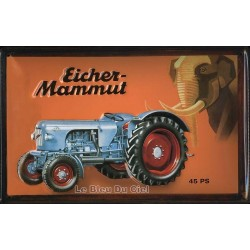 Plaque publicitaire 20x30cm bombée en relief : tracteur Eicher Mammut