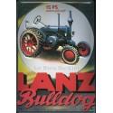 Plaque métal publicitaire 20x30cm bombée en relief : Tracteur Lanz Bulldog 15PS