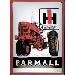 Plaque publicitaire 20x30cm bombé en relief : Tracteur Farmall IH.