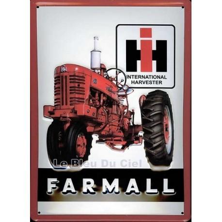 Plaque publicitaire 20x30cm bombé en relief : Tracteur Farmall IH