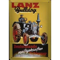 Plaque métal publicitaire 20x30cm bombée en relief : Tracteur Lanz Bulldog