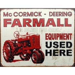 Plaque métal publicitaire plate 30x40cm : Mac Cormick Farmall