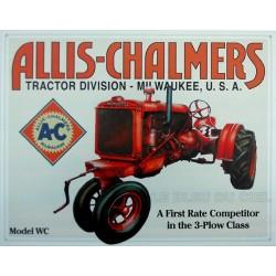 Plaque métal publicitaire 30x40cm plate : Tracteur Allis Chalmers