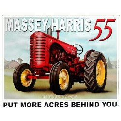 Plaque métal publicitaire 30x40cm plate : Tracteur Massey Harris 55