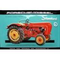 Plaque métal publicitaire 20x30 cm bombée en relief : Tracteur Porsche