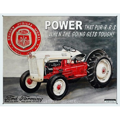 Plaque publicitaire 30x40cm plate : Tracteur Ford Farming Power