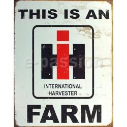 Plaque métal publicitaire 30x40cm plate : Logo IH Farm