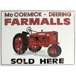 plaque métal publicitaire 30x40cm plate : Mc-Cormick-Farmall