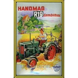 Plaque métal publicitaire 20x30cm bombée en relief : Tracteur HANOMAG R19
