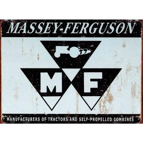 Plaque métal publicitaire plate : Logo MASSEY-FERGUSON
