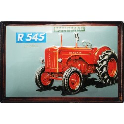 Plaque métal publicitaire 20x30cm bombée en relief : Tracteur HANOMAG R545