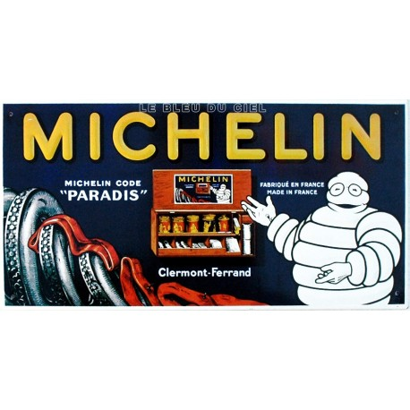 Plaque métal publicitaire 25x40cm plate relief : Michelin Clermont Ferrand