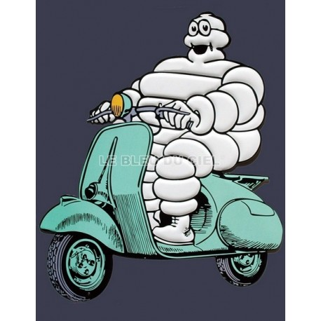 Plaque publicitaire 30x40cm découpée relief :  Michelin scooter