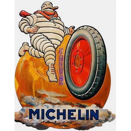 Plaque métal publicitaire 30x40cm découpée relief : Michelin monde