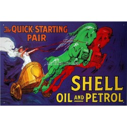 plaque publicitaire métal Shell oil and pétrol
