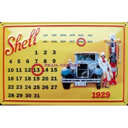 Calendrier métal publicitaire 20x30 cm bombé en relief : Shell
