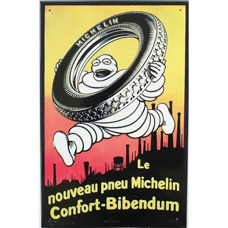 Plaque métal publicitaire 25x38cm relief : Michelin