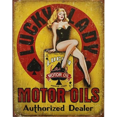 Plaque métal publicitaire plate 30x40cm: LUCKY LADY MOTOR OILS