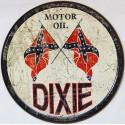 Plaque métal publicitaire ronde diamètre 30cm plate relief Motor Oil DIXIE Vintage
