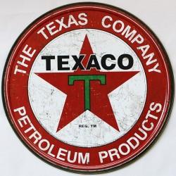 Décoration garage : plaque publicitaire diamètre 30cm TEXACO THE TEXAS COMPANY Vintage