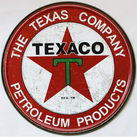 Décoration garage : plaque publicitaire diamètre 30cm TEXACO THE TEXAS COMPANY Vintage