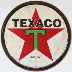 Décoration garage : plaque publicitaire diamètre 30cm TEXACO Vintage
