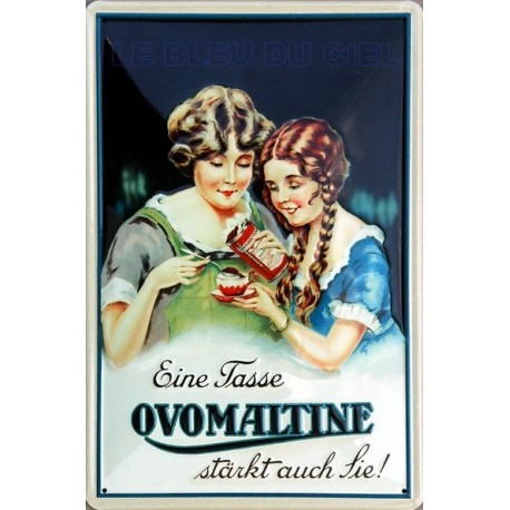 Plaque métal publicitaire 20x30cm bombée en relief : OVOMALTINE