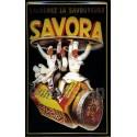 Plaque métal publicitaire 20x30cm bombée en relief : SAVORA