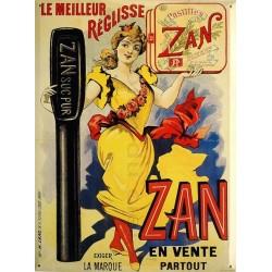 Plaque métal publicitaire 30x40cm en relief : REGLISSE ZAN