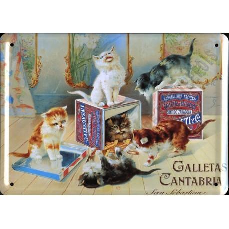 Plaque métal publicitaire 30x40cm bombée :  GALLETAS CANTABRIA