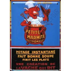Plaque métal publicitaire 30x40cm bombée : Potage Vache qui Rit.