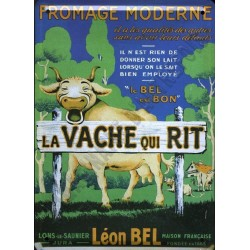Plaque métal publicitaire 30x40cm bombée :  La Vache qui rit