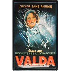 Plaque métal publicitaire 20x30cm bombée en relief : VALDA