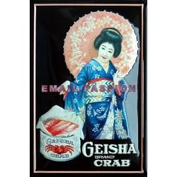 Plaque métal publicitaire 20X30cm bombée en relief : GEISHA brand CRAB