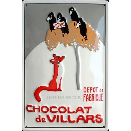 Plaque métal publicitaire 20x30 cm bombée en relief :  CHOCOLAT de  VILLARS