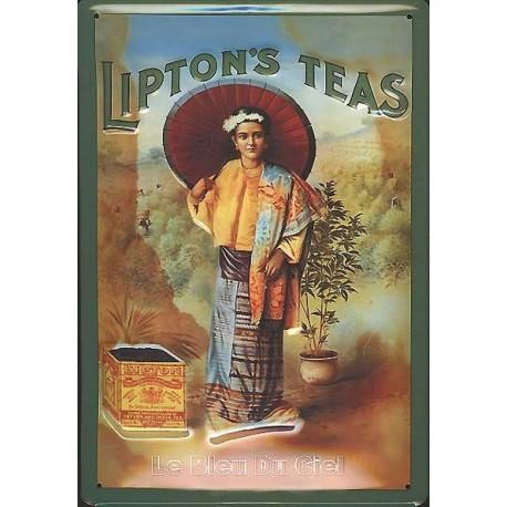 Pour votre Décoration : cette plaque publicitaire 20x30 cm bombée en relief  LIPTON'S TEA